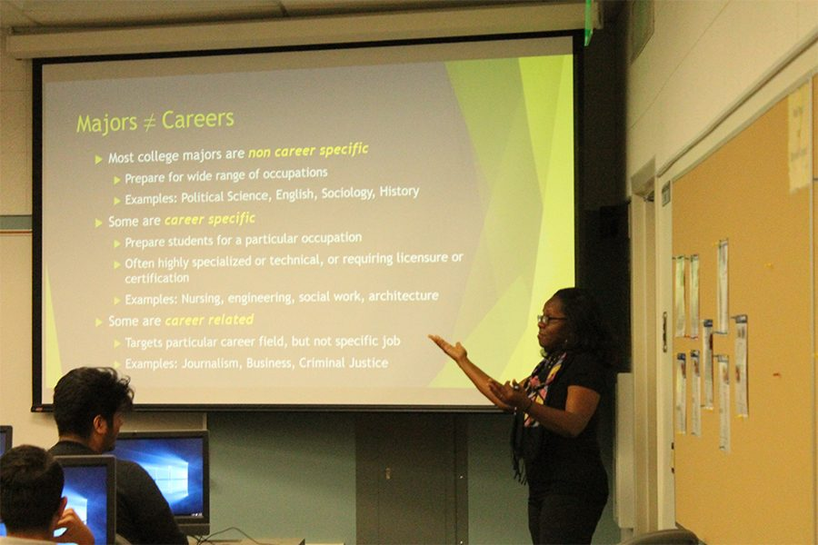 Career Counselor, Clara Ross-Jones talking about the differences in Majors and Careers to students. About 30 students were in attendance for the workshop. Photo credit: Alvaro Bayona