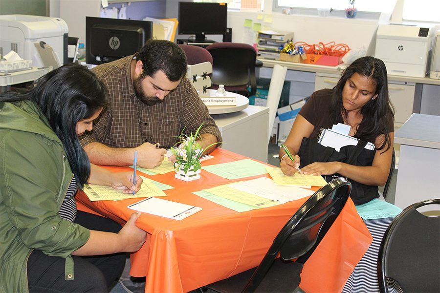 From left to right, Samantha Zamorano, Christopher Rodriguez, and Reena Rana filling out a form to find out what theme, career wise would be their strength. It was a technique provided by the organizers to let students know it was okay to make a mistake on choosing a major they thought was going to be their career. Students can always change their major. Photo credit: Lizette Sainz