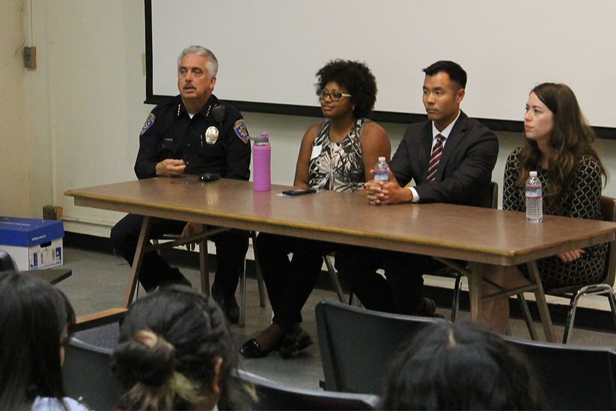 From left to right Chief of Campus Police Tom Gallivan, Director of Diversity, Compliance, and Title IX Coordinator Dr. Valyncia Raphael, member of District Attorney Office Brian Soo-Hoo, and Kristen Gardenhire, who works at the Long Beach Trauma Recovery Center, Gallivani discussed sexual abuse and how they handle it. Gallivani also discussed the resources the campus police provide. Photo credit: Max Perez