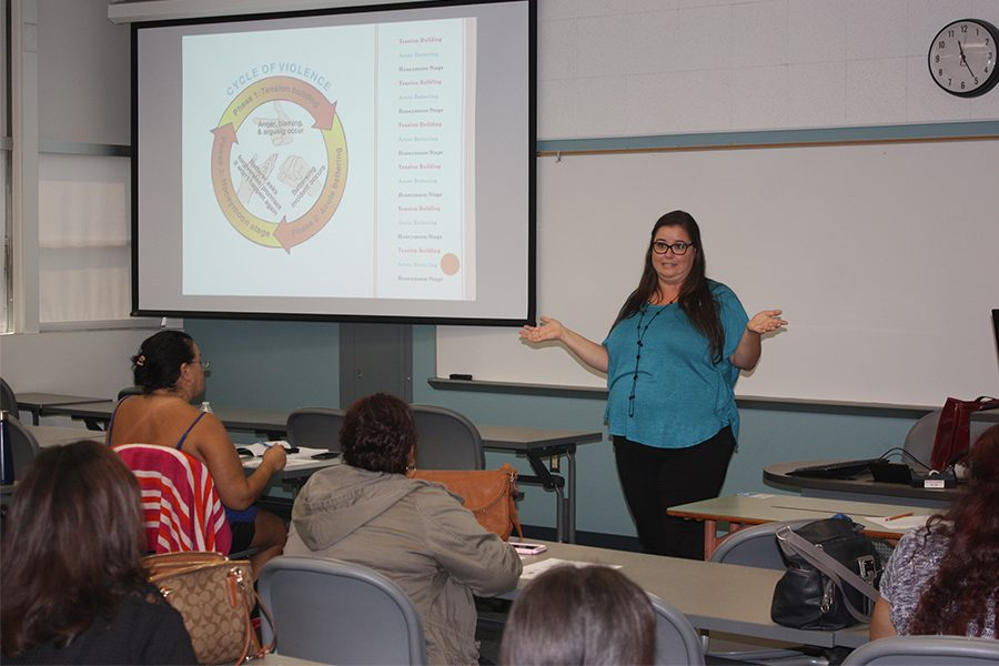 Presenter from Community Outreach Director Pamela Sepulveda, LCSW explaining how the Cycle of Violence works before she presented a 15 minutes 911 calls from real victims. Photo credit: Lizette Sainz