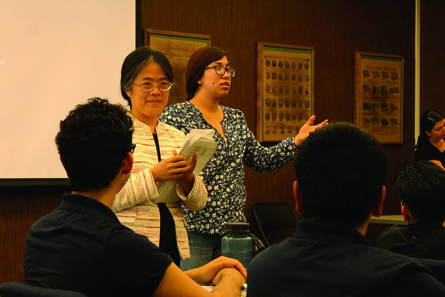 Student Trustee Karen Patron introducing speaker Director of Education division in the Taipei Economic and Cultural office Los Angeles Li-Ling Liang at the Wednesday Oct. 19 ASCC Senate meeting. Liang made a brief presentation on the different scholarships that Taiwan has available for students, and the possibility of going to one of Taiwan's universities to study. Photo credit: Perla Lara