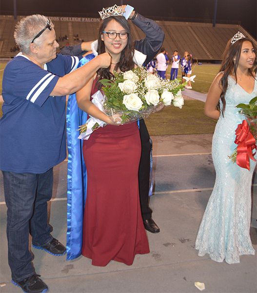 Megan Kim was crowned homecoming queen on Saturday, Oct. 15. She was escorted by her friend Jonathan Lim and was sponsored by Phi Theta Kappa.