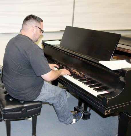 Oscar Franco, music major, practices for his recitals. The applied music program provides students with private lessons, his instructor is Professor Simmons. Photo credit: Briana Velarde