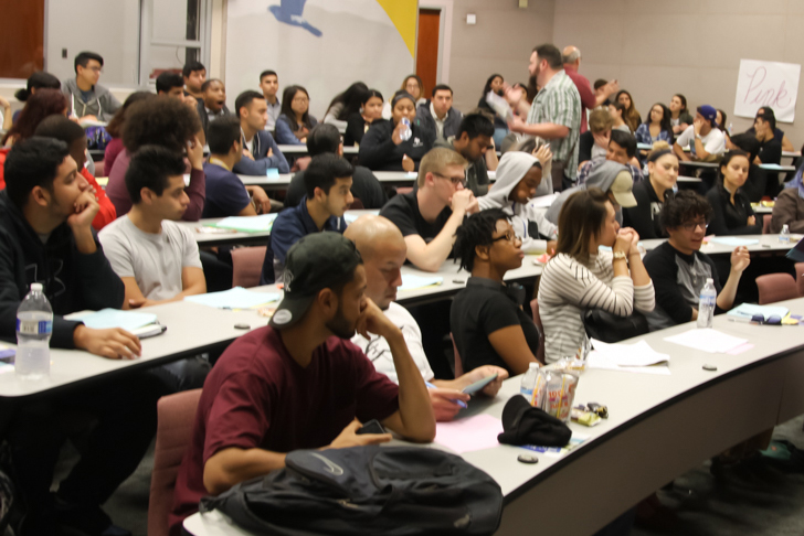 A+packed+house+at+the+Clarity+and+Moral+Courage+in+a+Time+of+Planetary+Change%2C+student+conference+event+held+on+Tuesday+Oct.+18.+These+are+some+of+the+100+plus+students+that+showed+up+to+the+event.+Photo+credit%3A+David+Jenkins
