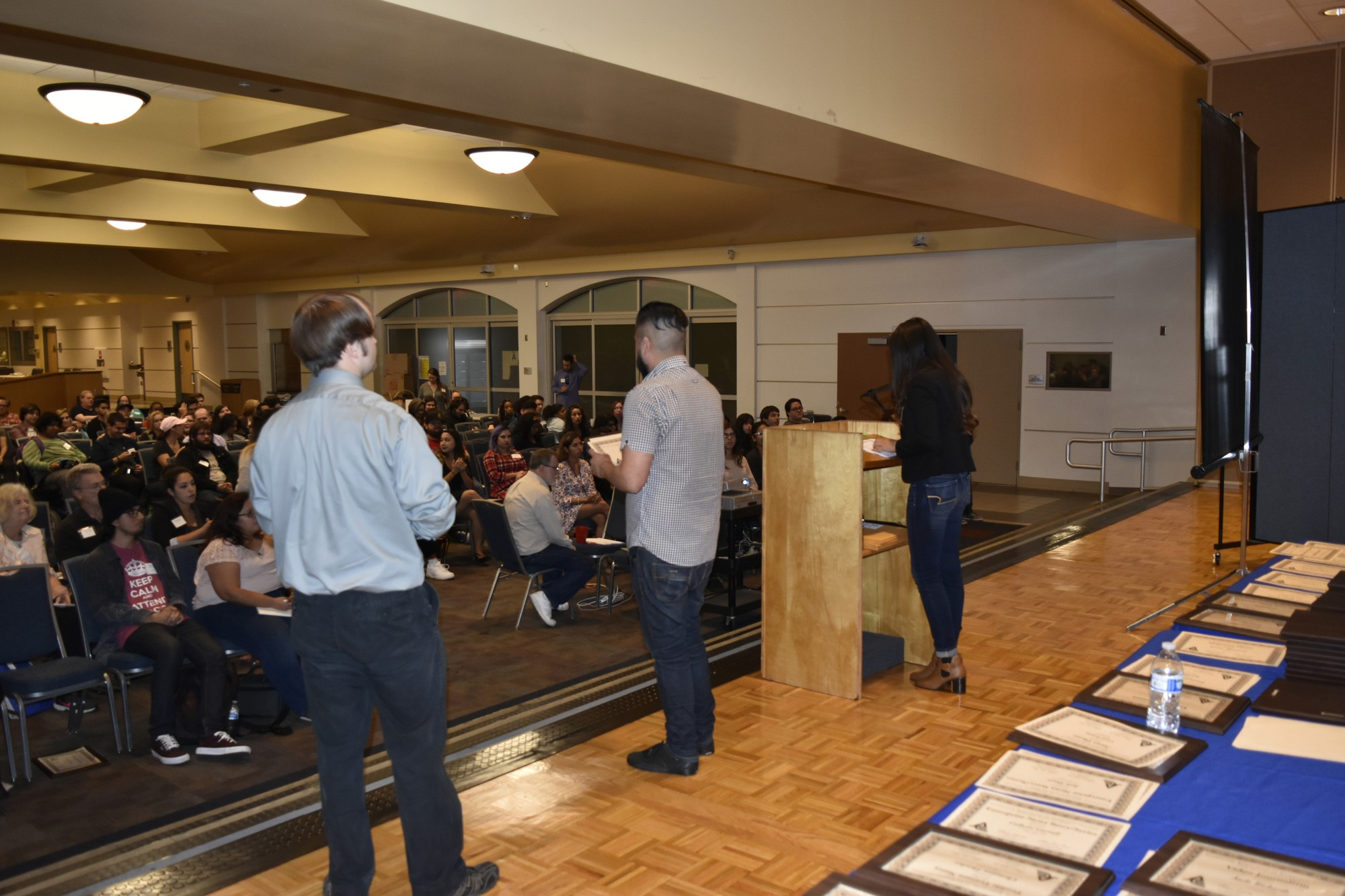 The crowed looking on as Journalism Association for community college award winners get announced. JACC was hosted at Cerritos College for the first time on Saturday Oct. 29. Photo credit: Terrel Emerson