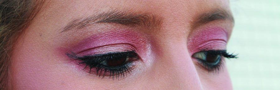 Sports Editor, Monique Nethington, demonstrates the pink eyeshadow trend. Make-up artists are now using a pink shadow not only for the top of the eye but for the bottom liner. Photo credit: Briana Velarde