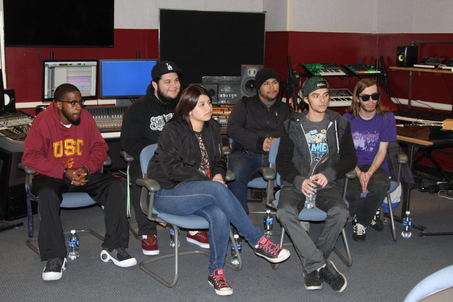 Back-row from left to right commercial music majors Terrance Alexander, Alejandro Haegendoreens, Oscar Chavez, Andrew Jones,  front-row from left to right commercial music majors, Emili Alexa Romano, and Justin Matteau. Photo credit: David Jenkins