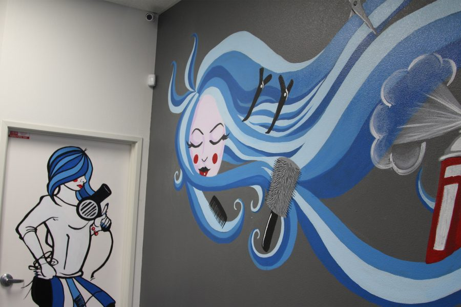 Fine+Arts+major+Christina+Covarrubia+and+Studio+Art+Drawing+major+Jon+Harguindeguy+collaborated+together+to+paint+these+two+murals.+This+was+done+at+a+small+beauty+salon+in+Lakewood+called+La+De+Da+Salon.+Photo+credit%3A+David+Jenkins