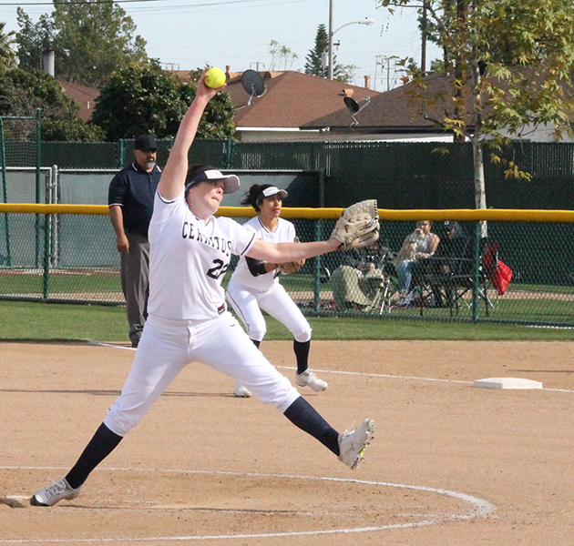 Sohpomore pitcher Kristen Voller goes through her motions about to deliver a pitch against Cypress College. The loss against Cypress marked the second of the season for both the Falcons and Voller.