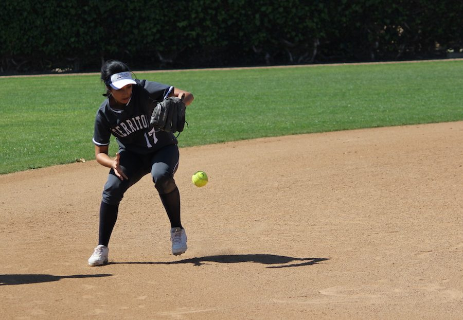 Shortstop+Erica+Guzman+fields+a+ground+ball+during+the+Falcons+Saturday%2C+March+11+game+with+Fullerton+College.+Guzman+would+finish+with+three+hits+and+one+run+in+the+7-4+victory.+Photo+credit%3A+Lindsay+Helberg