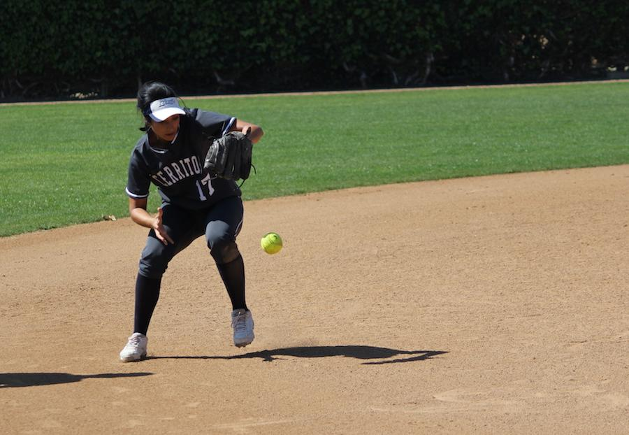 Shortstop Erica Guzman fields a ground ball during the Falcons Saturday, March 11 game with Fullerton College. Guzman would finish with three hits and one run in the 7-4 victory. Photo credit: Lindsay Helberg