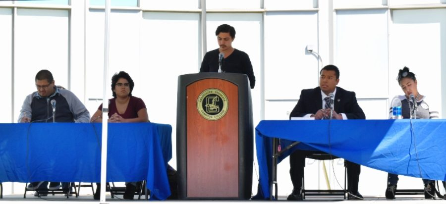 Student Trustee candidates pictured (from left): Joseph Escandon, Melanie Walters, Talon Marks staff writer David Jenkins, Raul Avalos, and Marlene Estrada. The forum was approximately 30 minutes long. Photo credit: Jenny Gonzalez