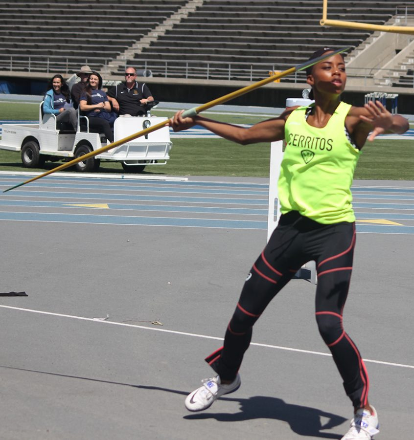 Sophomore Juanita Webster prepares for her javelin throw during the Southern California Heptathlon Championships Wednesday, April 5. Webster would finish first and be crowned champion. Photo credit: Max Perez