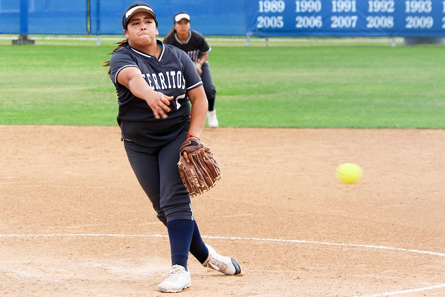 Jissel+Caballero+pitched+six+innings+for+the+Falcons+in+loss+against+Cypress+Thursday%2C+April+18.+Caballero+allowed+eight+hits+and+six+runs+for+her+third+loss+of+the+season.+Photo+credit%3A+Lindsay+Helberg