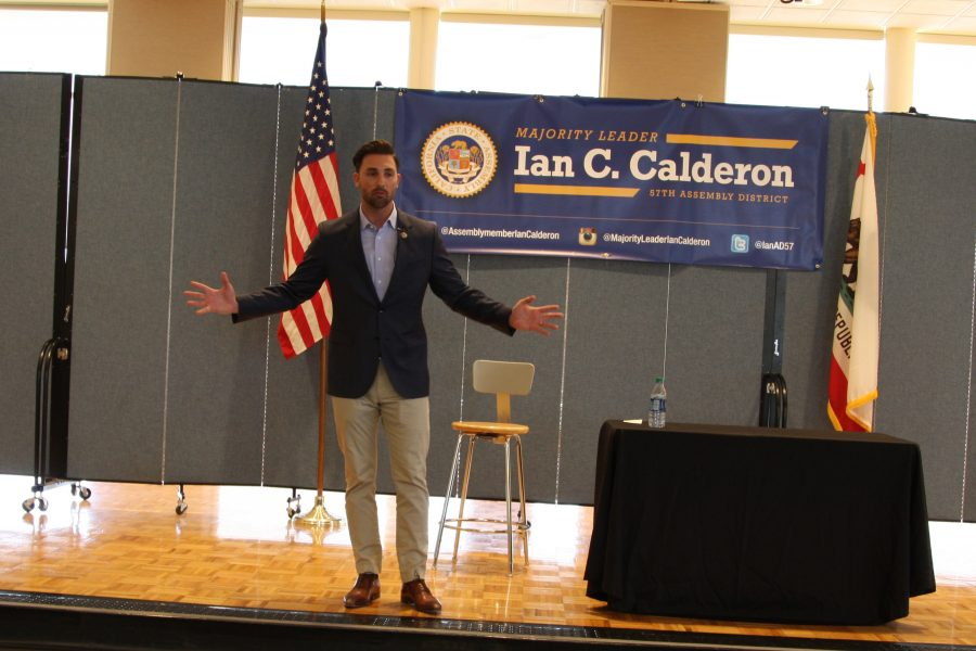 Majority+Leader+Ian+C.+Calderon+answering+questions+from+students+at+the+cerritos+student+center+on+Tuesday.+Topics+ranged+from+immigration+policy+to+the+rise+of+college+tuition.+Photo+credit%3A+David+Jenkins