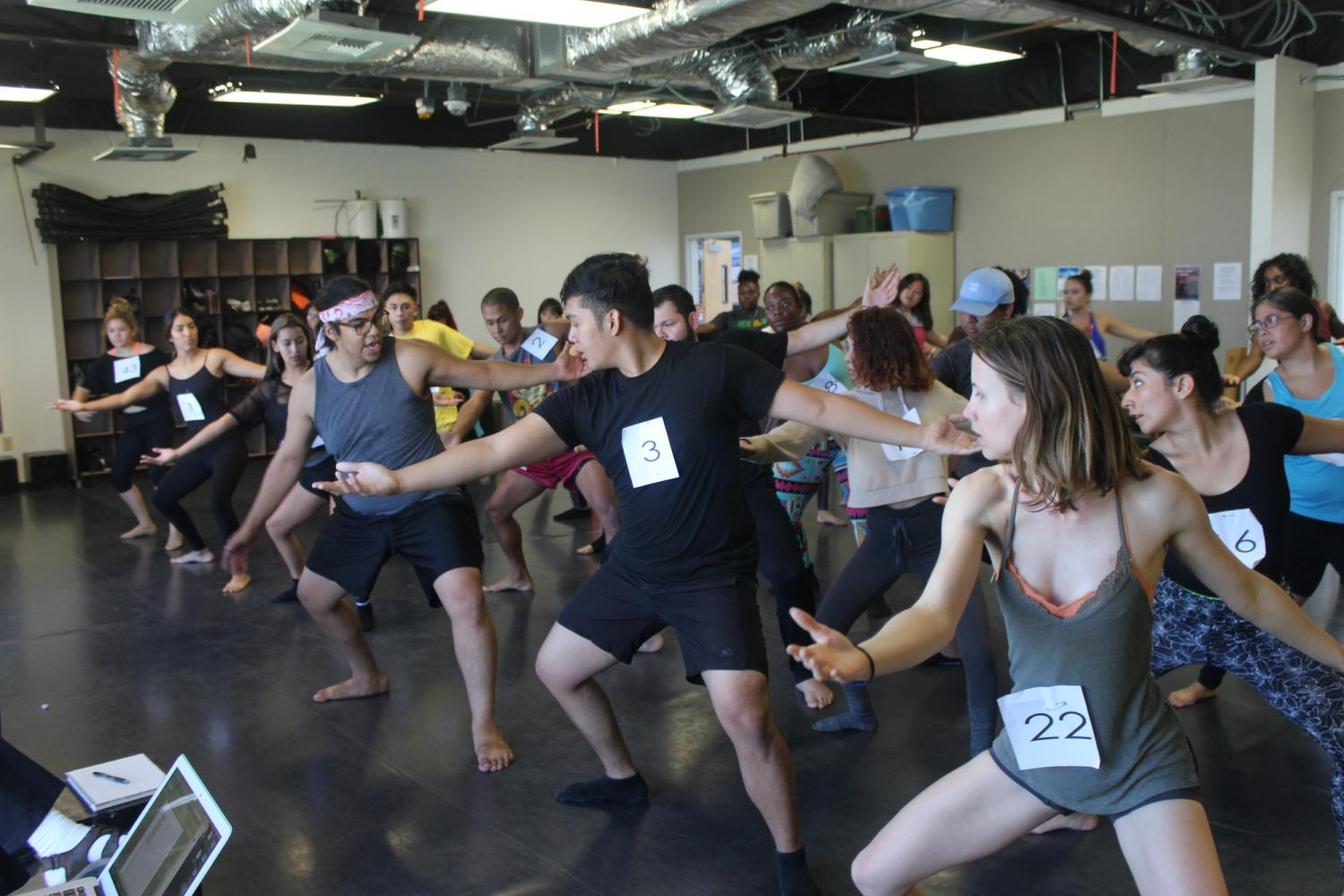 Steve Rosa (adjunct professor) teaching a combination to the auditioners. Students later performed it in groups. Photo credit: Rocio Valdez