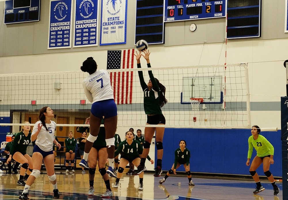 W.Volleyball's number seven, Bianca Smith, stands out in the match against the ELAC Huskies. she blocked multiple shots and scored points for the team. Photo credit: Jose Flores
