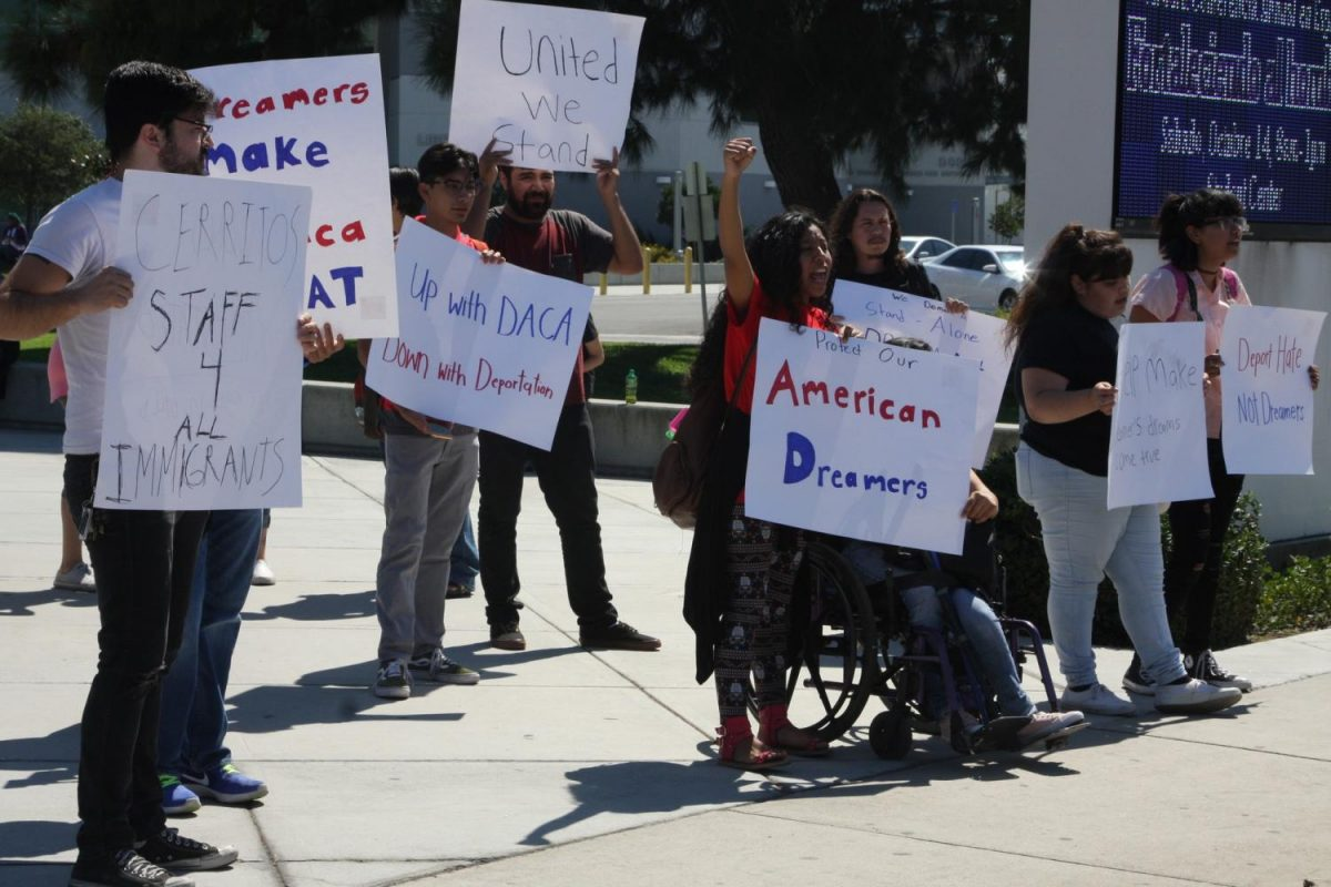 Cerritos+College+students+came+out+to+stand+and+make+thier+voices+heard+afther+the+DACA+Town+Hall+meeting.+They+stood+on+the+corner+of+Alondra+and+Studebaker.+Photo+credit%3A+David+Jenkins