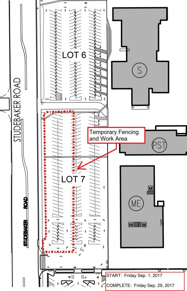 Half of parking lot 7 closed for sewage and asphalt repairs