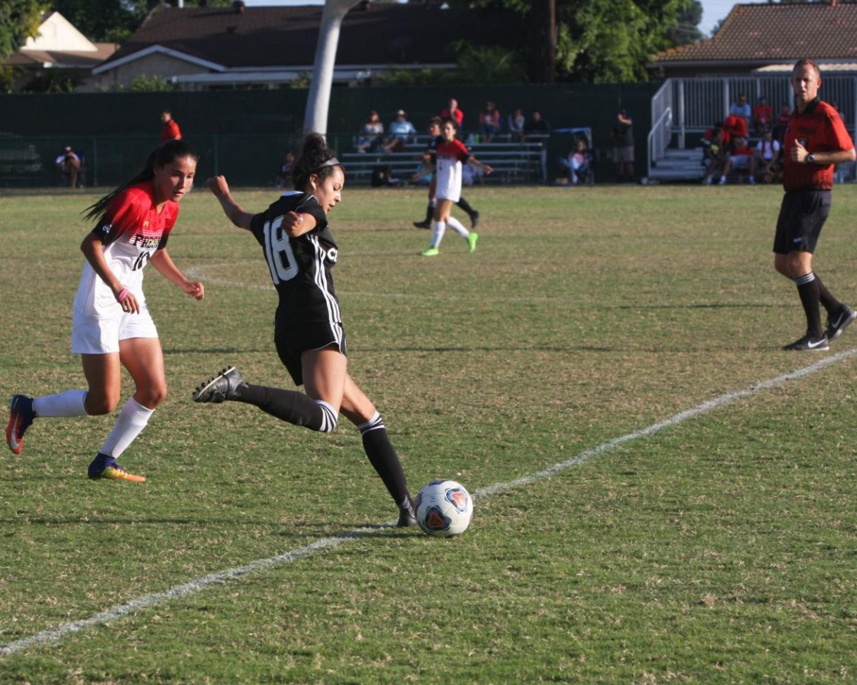 No. 18 Claudia Soto prepares to pass the ball midfield. The Falcons lost 3-2 against Fresno, breaking thier 52-0-2 home game streak. Photo credit: David Jenkins