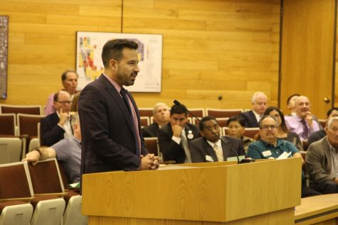 president Dr. Jose Fierro speaking infront of Cerritos city Council