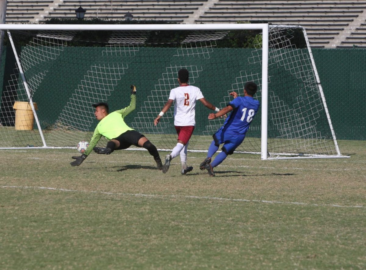 No. 18 Oscar Canela making the first goal of the game. The Falcons won 4-0 against Pasadena. Photo credit: David Jenkins