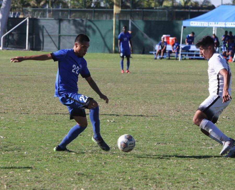 No. 22 Jose Ponce defending the ball against Chaffey. Falcons won 2-1. Photo credit: David Jenkins