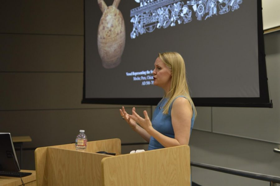 Dr. Kim Richter talks about the values each object has in the respective ancient cultures. Pacific Standard Time LA focuses on the culture and art from Latin America during the pre-columbian era. Photo credit: Carlos Martinez