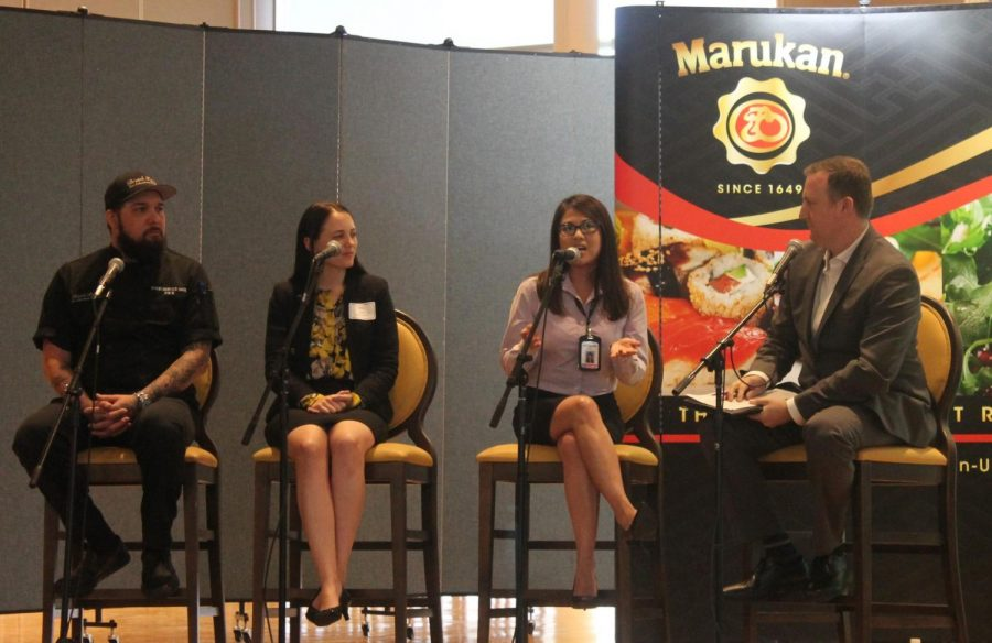 From far left to right: Panelists: Bristol Farms food service manager Joseph Braden, Monarch Beach Resort human resources representative Amy Gracielo, Panda Express senior human resources manager Elizabeth Wu, far right, moderator William Hickey The Party Staff Inc. director of staffing and recruitment. Hickey lobbed questions at the panelists about recruitment and advice when interviewing for a potential job. Photo credit: Bianca Martinez