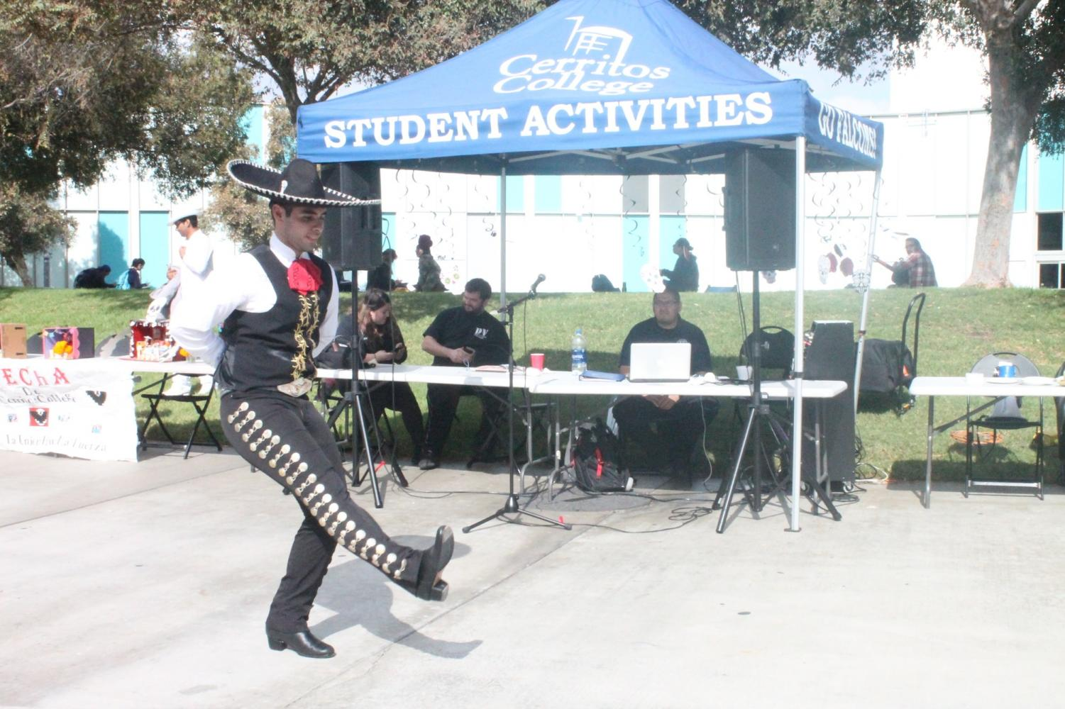 Carlos Quezada, administration of justice major, danced a song from Jalisco dance called