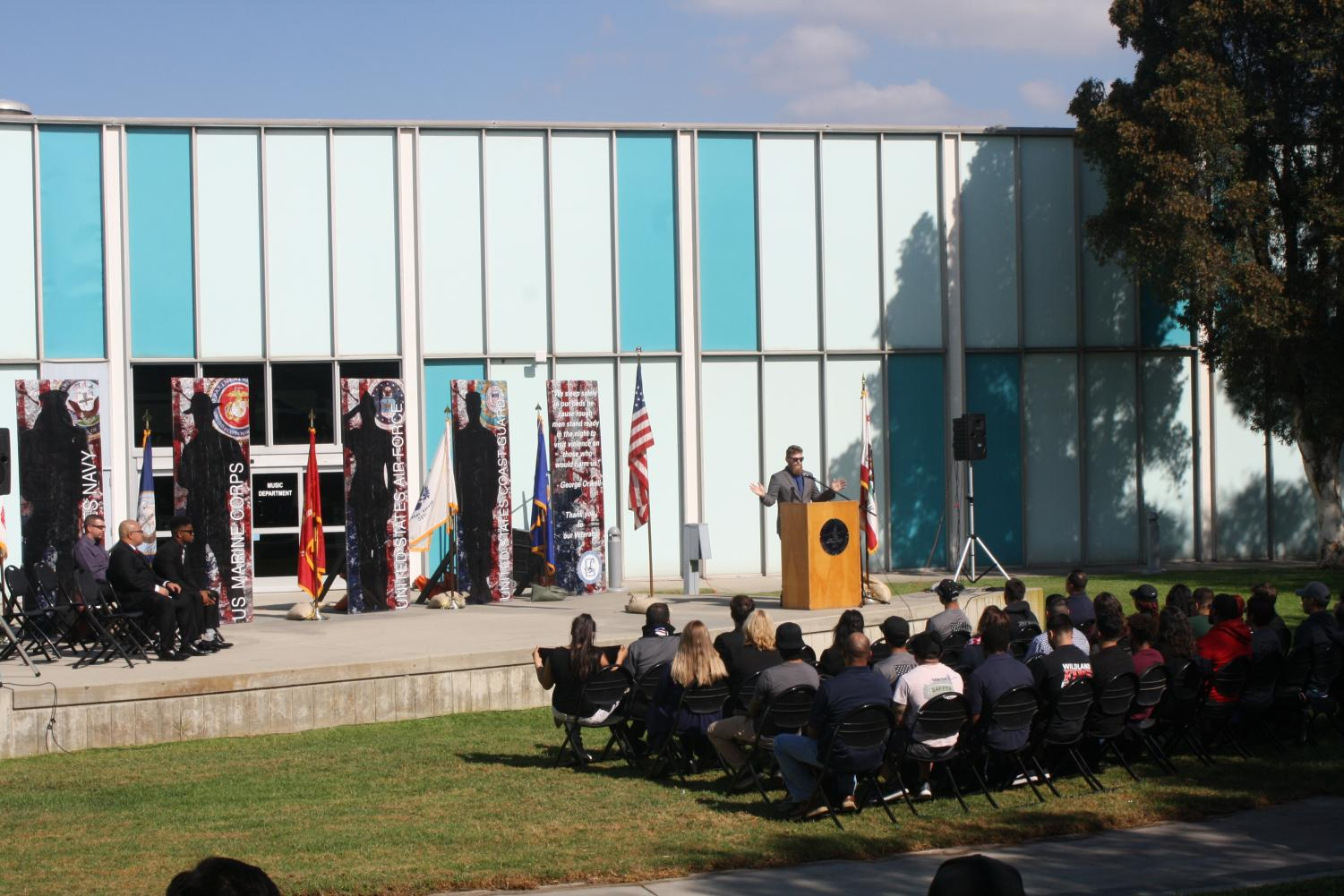 Veteran and Psychology Major at CSULA Brandon Cholvers spoke to students about the meaning of Veterans Day.The event was held on Nov. 9 in the amphitheater. Photo credit: Jocelyn Torralba