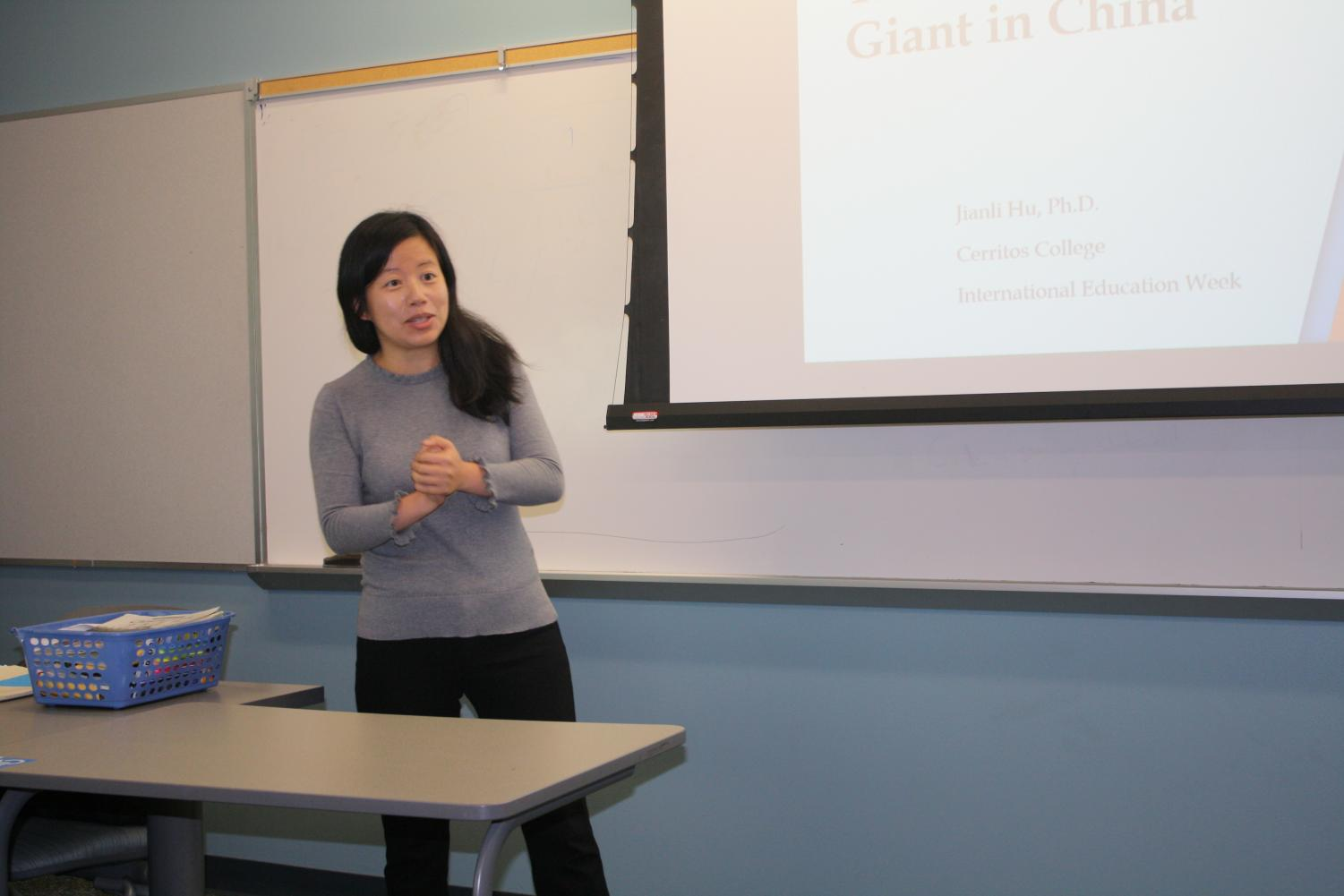 Professor of Business Administration Jianli Hu went over the aspects of Giant in China. International student week happens every year in November. Photo credit: Nicholas Johnson