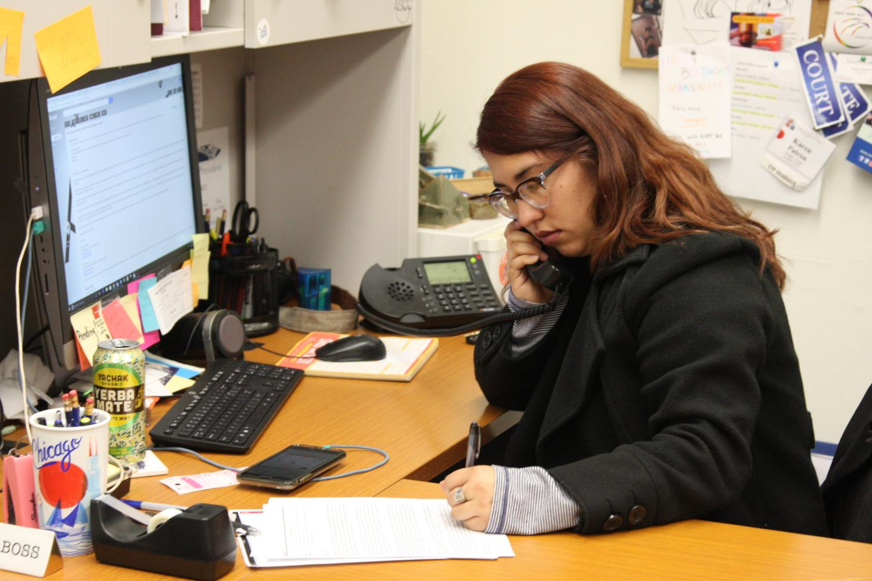 ASCC President Karen Patron sitting in her office. Patron hesitated signing the legislation after speaking to Cerritos College President Jose Fierro. Photo credit: David Jenkins