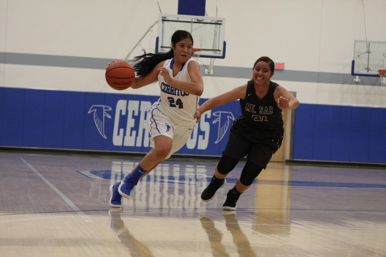 No. 24 Serena Rendon drives the ball past a Mt. SAC defender. Rendon had a team high 23 points.