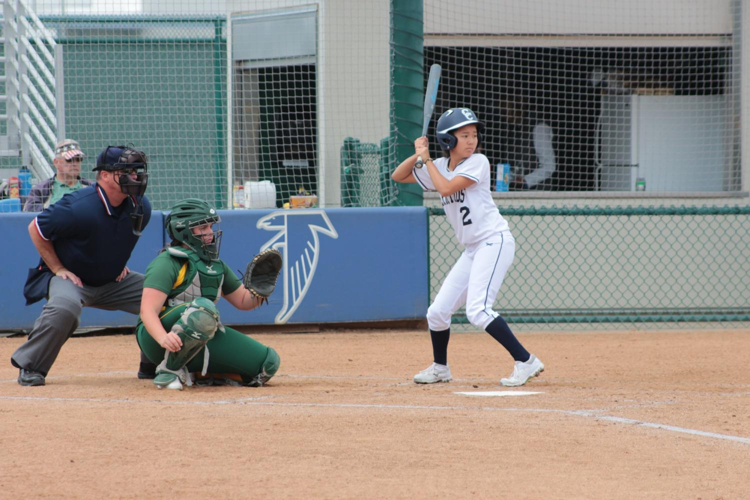 No. 2 Emma Wolff steps up to the plate during a game against Grossmont College. The Falcons won 4-1.
