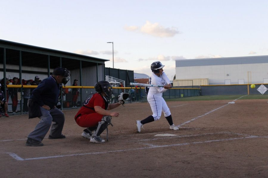 Sophomore+infielder+No.+33+Rain+Vega+hit+a+triple+down+left+field+in+the+bottom+of+the+5th+inning.+Vega+batted+in+two+runners.+
