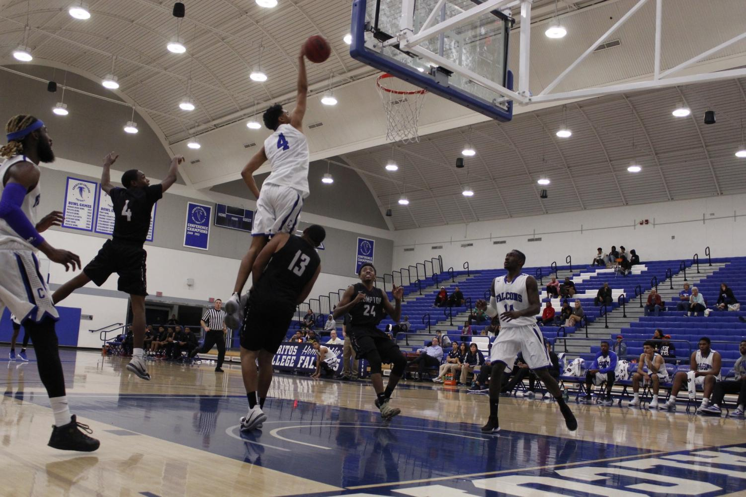 Men's basketball acquires eighth win in a row defeating Compton College