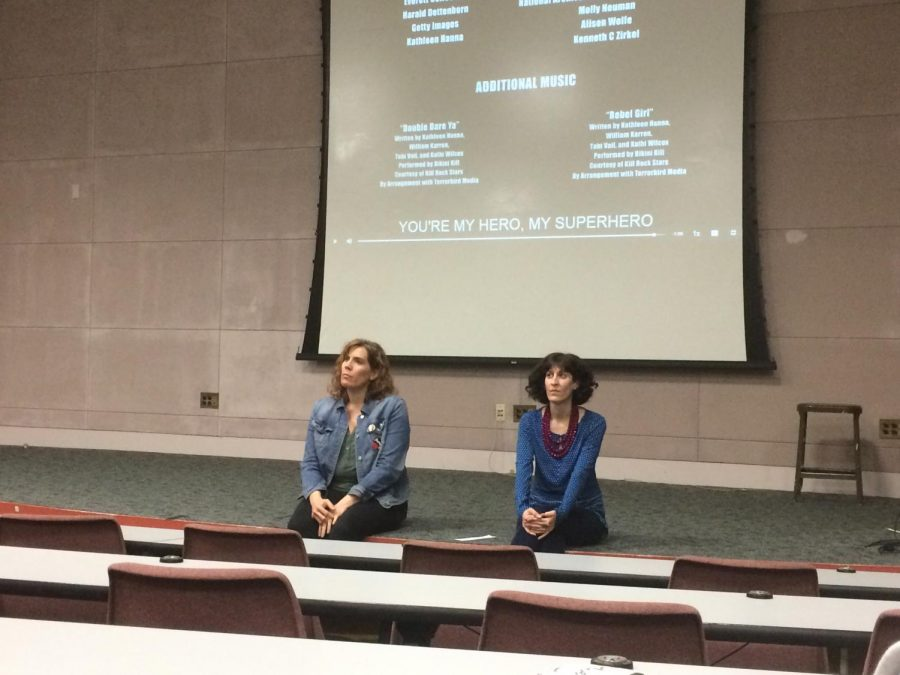 Erin Cole and Ja'net Danielo have a discussion with students after the Wonder Woman documentary. Cole, Danielo, and students explore and discuss topics covered in the film and regarding female representation.