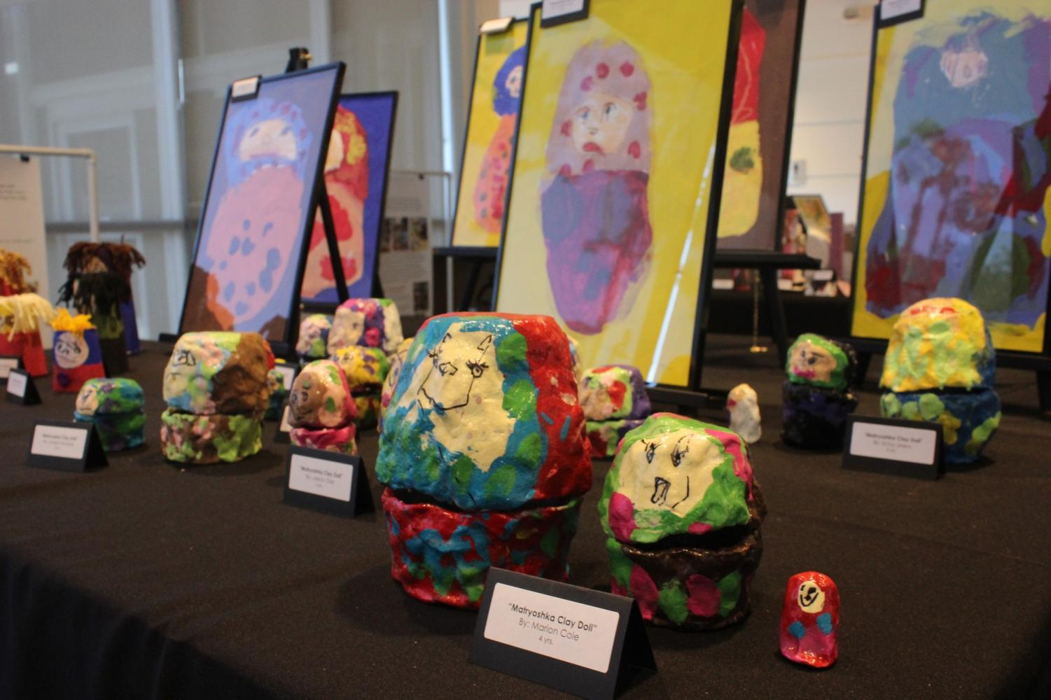 Children in the Cerritos College Child Development Center created various art projects on display. The Children's Voices exhibit was held in the Student Center on April 17-20.