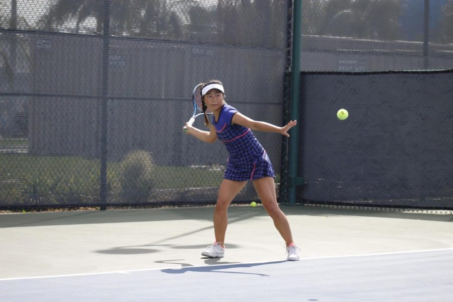Sophomore+Lisa+Suzuki+on+day+two+of+the+South+Coast+Conference+tournament.+Suzuki+won+the+conference+singles+and+doubles+with+her+partner+freshman+Kseniia+Prokopchuk.