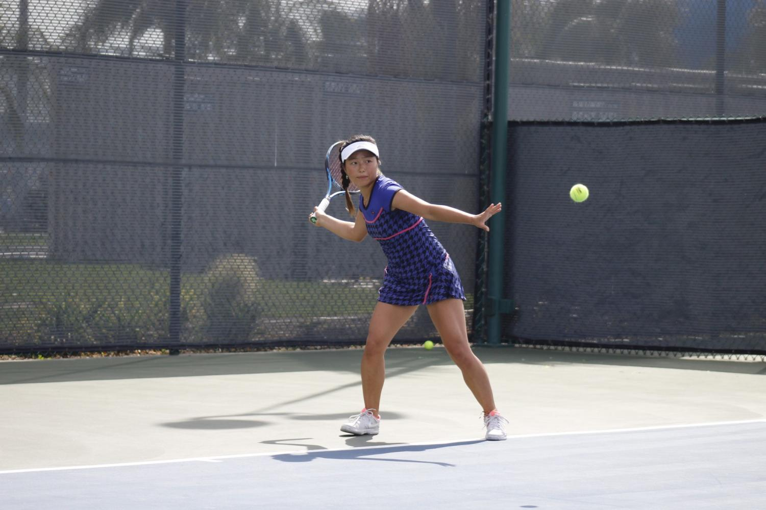 Sophomore Lisa Suzuki on day two of the South Coast Conference tournament. Suzuki won the conference singles and doubles with her partner freshman Kseniia Prokopchuk.