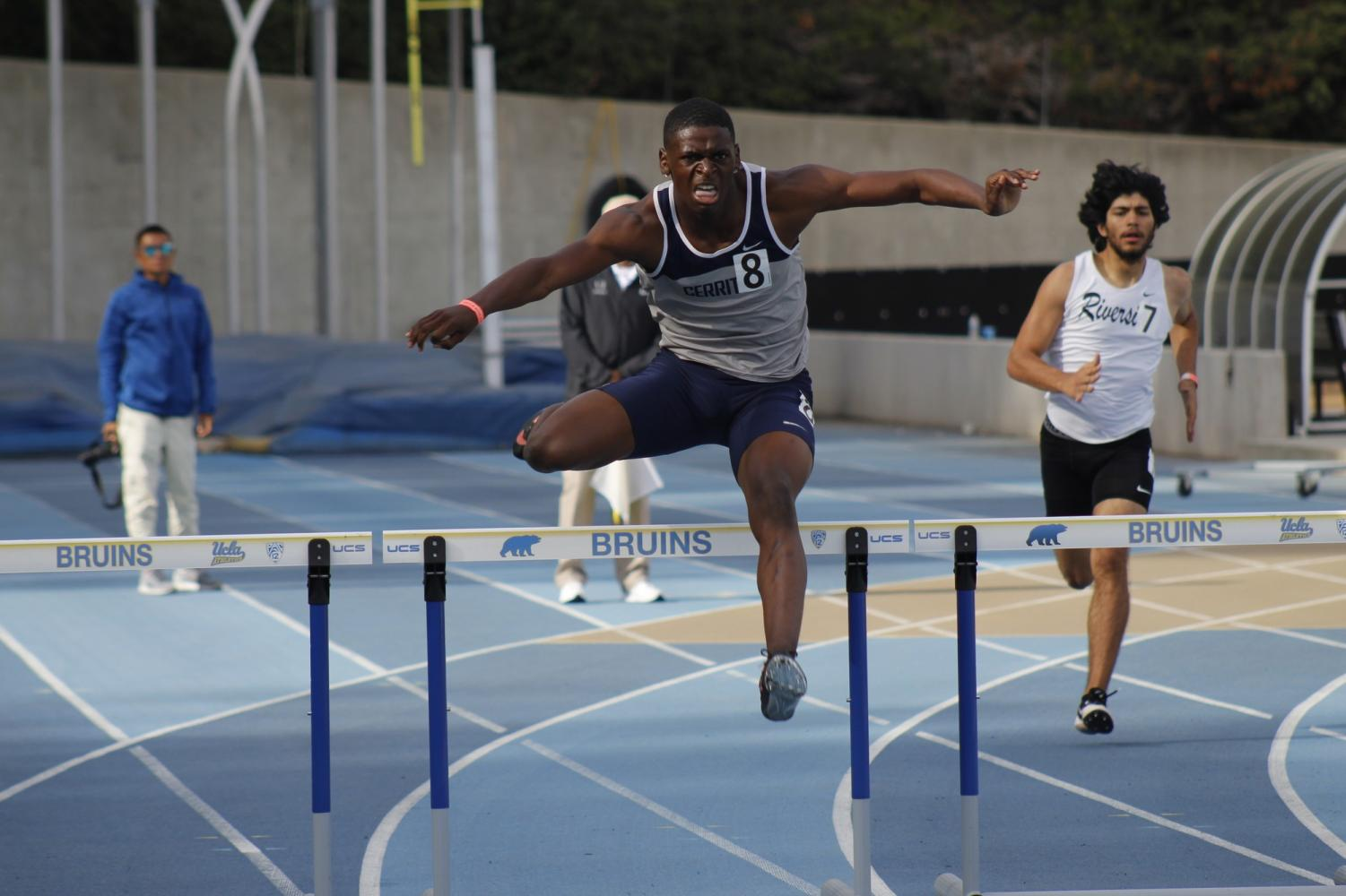 Sophomore Micqwuan Wright in the men's 400-meter hurdles race. Wright finished the race in fourth place.