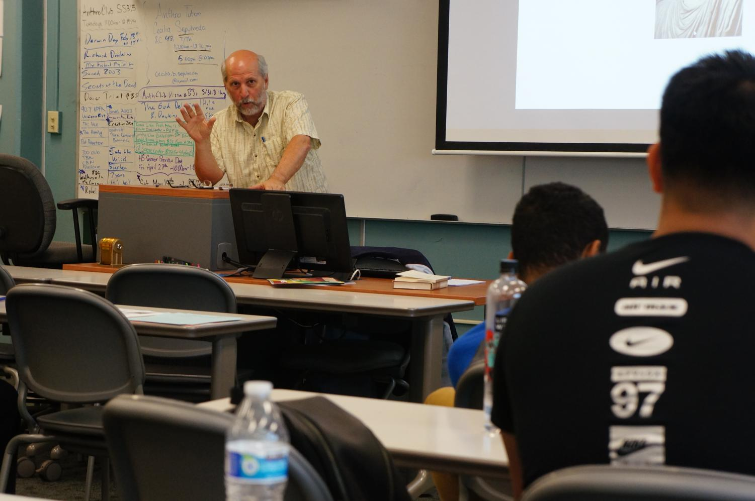 Professor Stolze discusses gender equality in the new testament with students. Photo credit: John Chavez