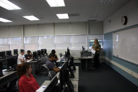 Scholarship Relations Specialist Rachel Samarin gives advice to students who are applying for scholarships. Students are encouraged to take advantage of the scholarships available on Cerritos College Foundation.