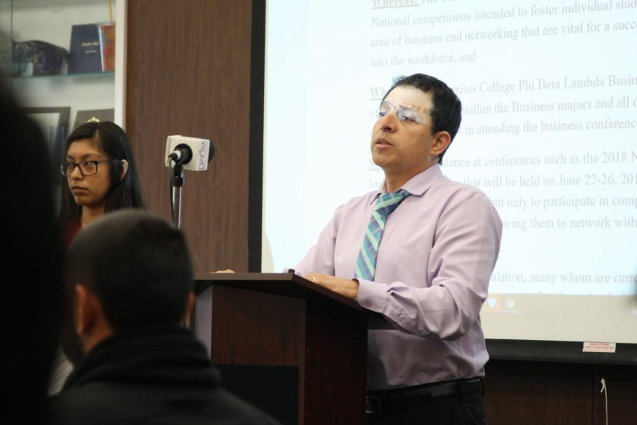 Phi Beta Lambda's club advisor, Jerry Ramos, spoke to ASCC to request funding to attend a conference. The request sparked debate among senators about the club's funding.