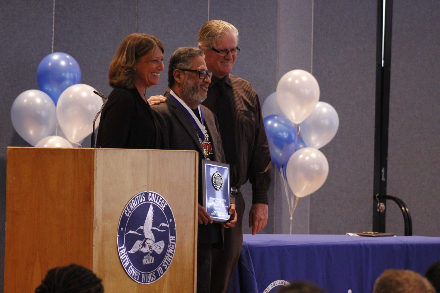 Physics professor Carlos Mera is awarded Most Outstanding Faculty. He was awarded this at the Cerritos College Outstanding Faculty Awards Ceremony on April 26 for the 2017-2018 academic year.