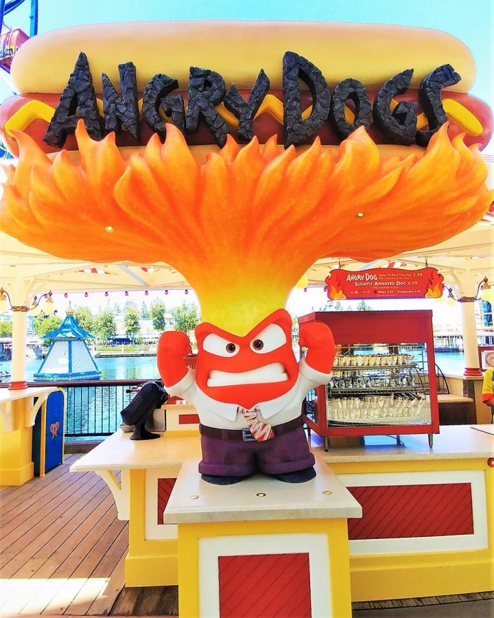 Anger is the face of the newly themed cart at Pixar Pier. Angry Dogs will serve two different types of hot dogs.