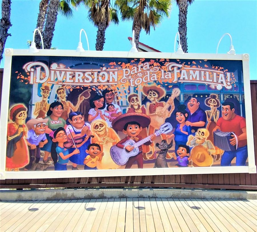Fun for the whole family. reads the Coco billboard. Coco is one of the few billboards featured along the boardwalk into Incredibles Park.