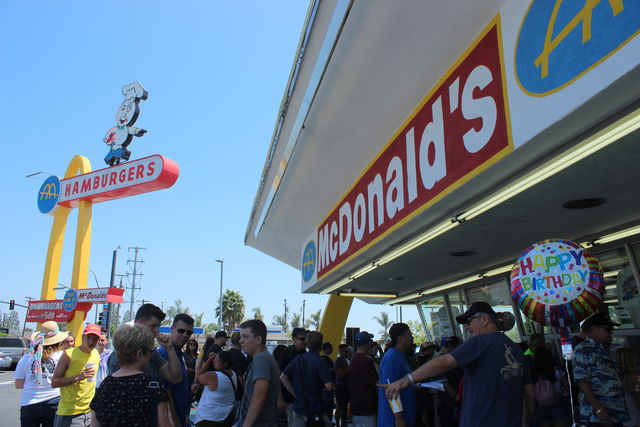 McDonald%27s+on+Lakewood+Blvd+celebrated+its+65th+year+in+service.+It+was+opened+on+Aug.+18%2C+1953+by+Roger+Williams+and+Burdette+%22Bud%22+Landon.+Landon%27s+grandson+was+also+in+attendance+and+recounted+his+personal+history+with+the+restaurant.