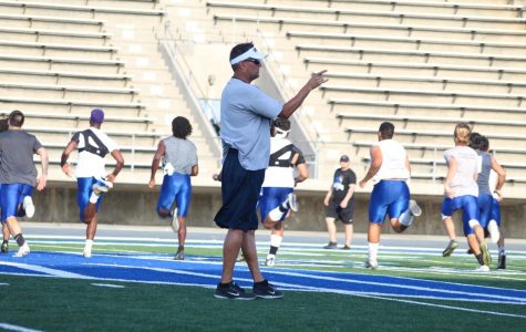 Head coach Dean Grosfeld during football practice. Grosfeld is preparing his players for the first kickoff on Aug. 23.